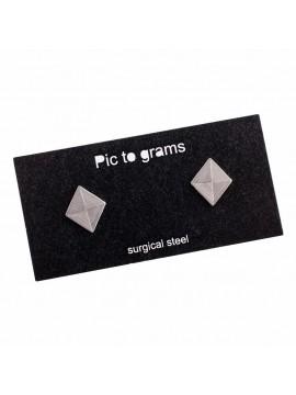 Naušnice Pic to grams grav - Kosočtverec gravírovaný