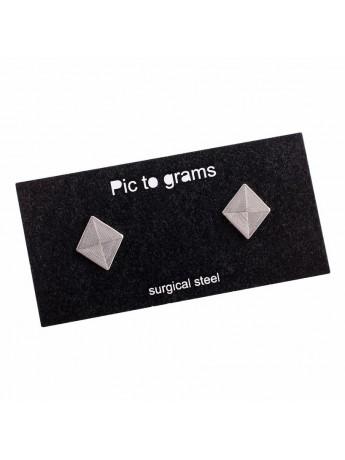 Naušnice Pic to grams - Čtverec gravírovaný